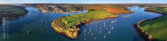 Aerial panoramic image of Salcombe, South Devon