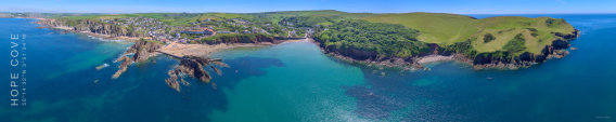Aerial panoramic image of Hope Cove, South Devon