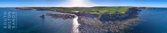 Aerial panoramic image of South Milton Sands & Thurlestone, South Devon